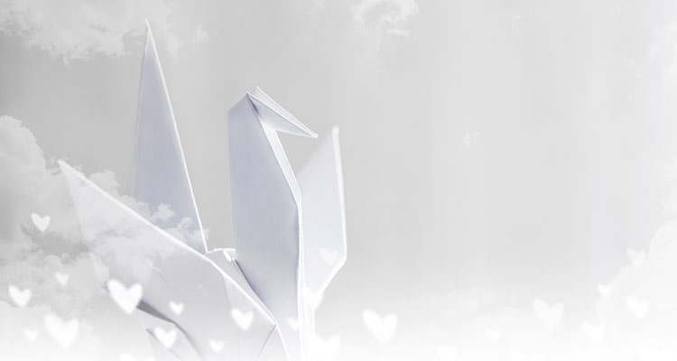 Origami paper crane on sky
